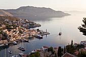 Yachts in the port of Symi, Symi Island, Greece