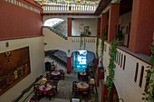The interior of the Hotel Casa Antigua in Oaxaca City, Mexico.