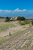 View of the Grand Plaza from the North Platform of Monte Alban (UNESCO World Heritage Site), a large pre-Columbian archaeological site in the Valley of Oaxaca region, Oaxaca, Mexico.