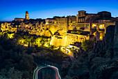 Pitigliano illuminated at night, Tuscany, Italy
