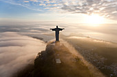 Aerial view of Christ Redeemer statue on the Corcovado Mountain, Rio de Janeiro, Brazil