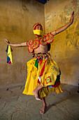 Dancer backstage at a festival, Gangtey Dzong or monastery, Phobjikha Valley, Bhutan