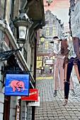 'Victor Sackville' (2002, Francis Carin) Mural on the Comic Book Route in Rue du Marché au Charbon / Rue des Teinturiers (Kolenmarkt / Verversstraat) Brussels, Belgium.
