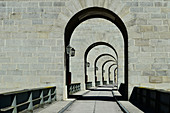 Arches and walls in a barrage and bridge over the Danube, Maierhof, Austria