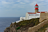 Lighthouse overlooking the Atlantic at Cabo de Sao Vicente, Algarve, Portugal