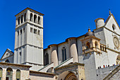The Basilica of San Francesco with tower and Church of the Entombment of St. Francis, Assisi, Italy