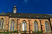 Sunlight is reflected in the windows of the church in Saarburg, Saarland, Germany