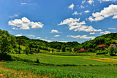 Beautiful, lonely valley with fields and forest, near Strmec, Croatia