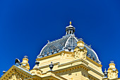 The roof of the Mimara Museum against a deep blue sky, Zagreb, Croatia