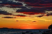 Late twilight with dramatic colors, Bibinje near Zadar, Adriatic Sea, Croatia