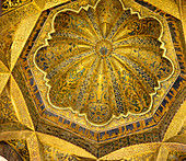 Moorish decoration of the dome in the Mosque-Cathedral, Cordoba, Andalusia, Spain
