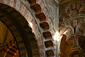 A ray of sun falls on the arches in the Mosque-Cathedral, Cordoba, Andalusia, Spain