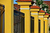 Colored fence of the baroque palace in Zwentendorf an der Donau, Austria