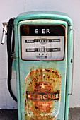 Old petrol pump with Heineken beer lettering, near Tulln on the Danube, Austria