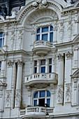 Elaborately decorated facade of an old house, Naschmarkt, Vienna, Austria