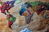 Image of a world map made of spices and dried fruits, Naschmarkt, Vienna, Austria