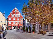 Salzstraße und Gasthof zum Schwanen in Memmingen, Bayern, Deutschland