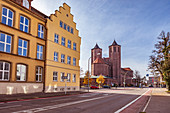 District Office and St. Josef Church in Memmingen, Bavaria, Germany