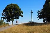 Aufstieg zur Walberla bei Kirchehrenbach, Landschaft, Baum, Kreuz, Person, Fränkische Schweiz, Ober-Franken, Bayern, Deutschland