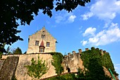 die Burg, Gößweinstein, Dorf, von unten, Mauern, Mittelalter, Wolken, Fränkische Schweiz, Ober-Franken, Bayern, Deutschland