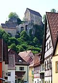 Pottenstein, Fränkische Schweiz, Burg, Fachwerkhäuser, Häuser, Dorf, Ansicht,  Ober-Franken, Bayern, Deutschland