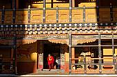 A monk enters the Paro dzong.
