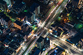 Aerial view of a city intersection in Tokyo, Japan