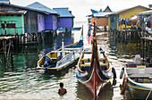Boats and stilt houses of Mabul Island, Borneo, Malaysia