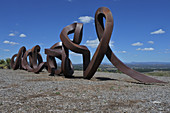 CANBERRA - MAR 01 2019: The monumental public art, Wide Brown Land, an outdoor sculpture at the National Arboretum in Canberra Australian Capital Territory.