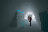 The lobby at the entrance to the classic Icehotel in Jukkasjarvi near Kiruna in Swedish Lapland; northern Sweden.