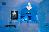 The Icebar at the ICEHOTEL 365 which was launched in 2016 and is a permanent structure offering year round the stay in the Icehotel in Jukkasjarvi near Kiruna in Swedish Lapland; northern Sweden.