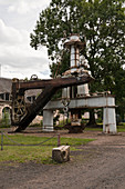 Crane and machinery at the royal forge of La Chaussade in Guerigny was built in1640 and is a listed historic monument, Nievres (58), Burgundy, France. Using hydraulic energy from the nearby river, anchors for the Navy were manufactured from 1872.
