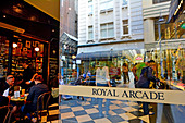 MELBOURNE - APR 13 2014:The Royal Arcade doorway in Melbourne, Australia.It's a significant Victorian era arcade shopping passage and one of the most famous tourist destinations in Melbourne.