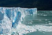 Sequence of a huge chunk of ice calving from the glacier face of the Perito Moreno Glacier in Los Glaciares National Park near El Calafate, Argentina.