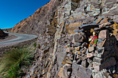 A shrine erected for protection of drivers along Highway 52 at Lipan Pass in the Andes Mountains near Purmamarca, Jujuy Province, Argentina.