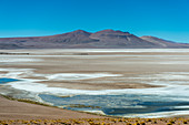 Barren landscape with a salt lagoon at the Argentinean/Chilean border at Jama Pass in the Andes Mountains, Chile.