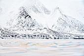 Orange sand from the Sahara desert blown north up to Billefjorden, Spitsbergen, Svalbard\n