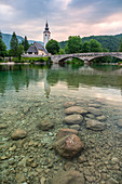 St. John the Baptist Church and Bohinj lake, Ribčev Laz, Upper Carniola, Triglav National Park, Slovenia