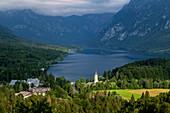 St. John the Baptist Church and Bohinj lake, Ribčev Laz, Upper Carniola, Triglav National Park, Slovenia