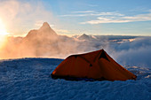 Camping at hight altitude with Matterhorn (Cervino) on background, Gobba di Rollin, Monte Rosa, Aosta Valley, Italy