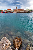 Town of Krk, waterfront view, island of Krk, Kvarner bay, Adriatic coast, Croatia