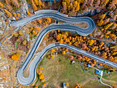 Aerial view of road to Cervinia, Valtournenche Valley, close to,Aosta Valley,Italy,Europe