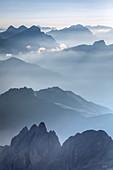 view from Marmolada towards the horizon, Dolomites, Trentino Alto Adige, Italy