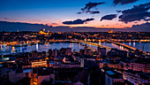 Istanbul by night from Galata Tower, Turkey, Turkish