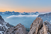 Gran Cir, Gardena Pass, Dolomites, Bolzano district, South Tyrol, Italy, Europe. View just before sunrise from the summit of Gran Cir to the mountains of Tofane, Sorapiss, Antelao and Mount Pelmo