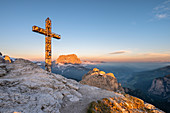 Gran Cir, Gardena Pass, Dolomites, Bolzano district, South Tyrol, Italy, Europe. Sunrise at the summit of Gran Cir\n