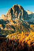 Tofana di Rozes at Sunset in autumn season, Cortina d'Ampezzo, Veneto, Italy