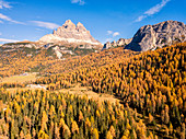 Aerial view of Three Peaks of Lavaredo, VEneto, Belluno province, Italy