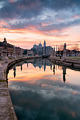 Sunrise from Prato della Valle, Padua, Italy Veneto district, Europe.