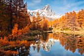 Autumn at Blu Lake, Cervinia, Valtournenche, Aosta province, Aosta Valley, Italy, Europe